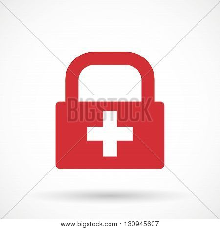 Isolated Lock Pad Icon With   The Swiss Flag
