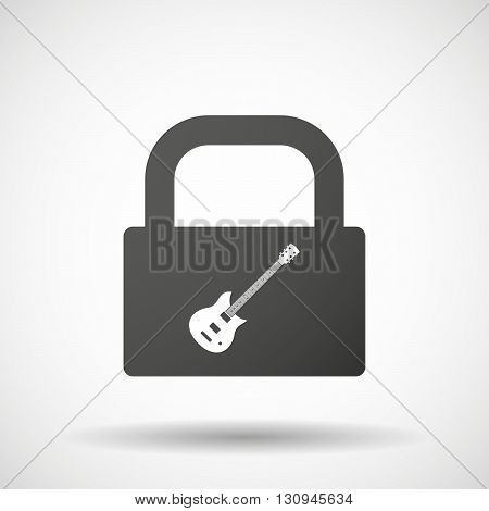 Isolated Lock Pad Icon With  An Electric Guitar