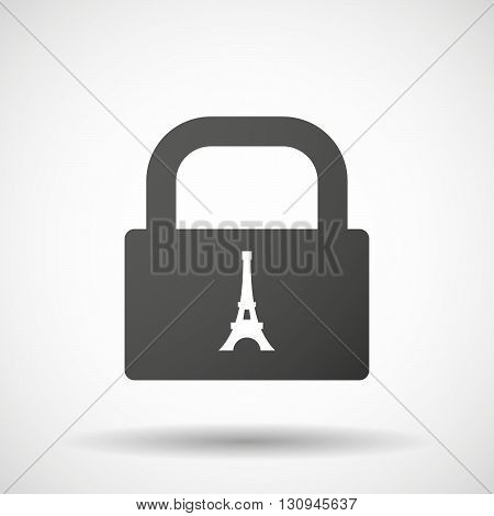 Isolated Lock Pad Icon With   The Eiffel Tower