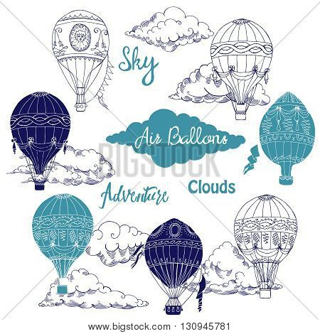Background with Hot Air Balloons and Clouds. Hand drawn sketches vector illustration