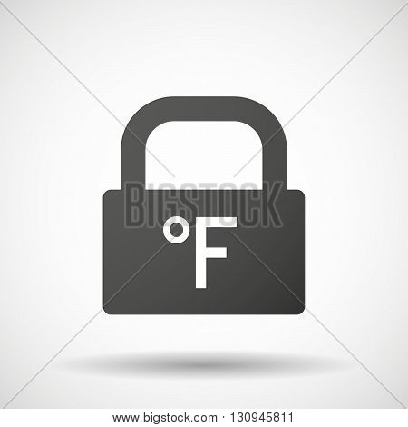 Isolated Lock Pad Icon With  A Farenheith Degrees Sign