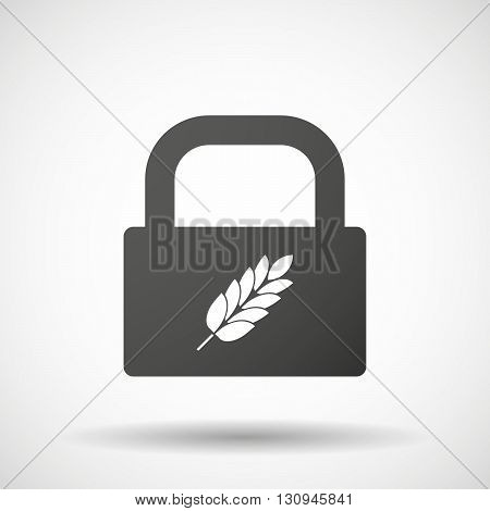 Isolated Lock Pad Icon With  A Wheat Plant Icon