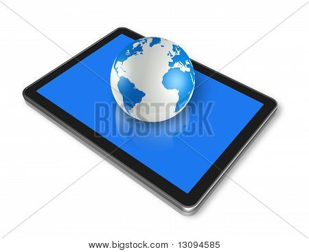 Digital Tablet Pc And World Globe