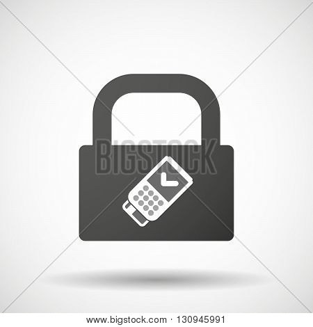 Isolated Lock Pad Icon With  A Dataphone Icon