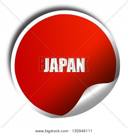 Greetings from japan, 3D rendering, red sticker with white text