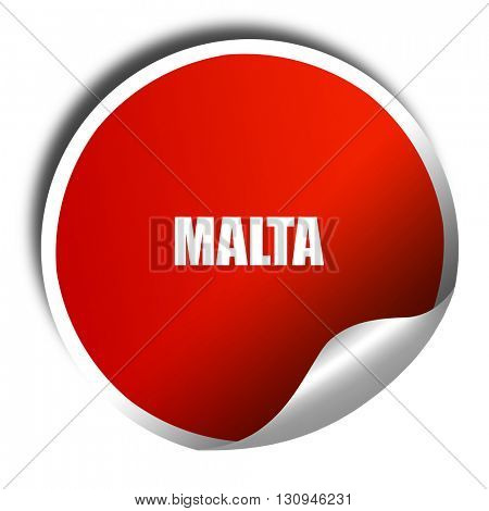 Greetings from malta, 3D rendering, red sticker with white text