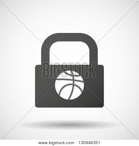 Isolated Lock Pad Icon With  A Basketball Ball