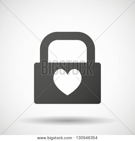 Isolated Lock Pad Icon With  The Heart Poker Playing Card Sign