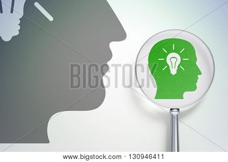 Studying concept: magnifying optical glass with Head With Light Bulb icon on digital background, empty copyspace for card, text, advertising, 3D rendering