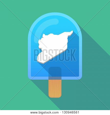 Long Shadow Ice Cream Icon With  The Map Of Syria