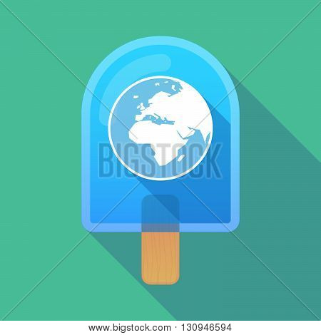 Long Shadow Ice Cream Icon With   An Asia, Africa And Europe Regions World Globe