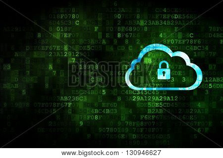 Cloud technology concept: pixelated Cloud With Padlock icon on digital background, empty copyspace for card, text, advertising