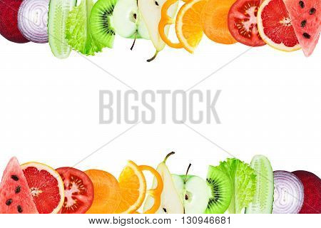 Fruits and vegetables. Fresh sliced.Healthy food concept