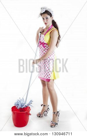 Pretty Woman With The Mop Cleaning The Floor
