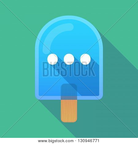 Long Shadow Ice Cream Icon With  An Ellipsis Orthographic Sign