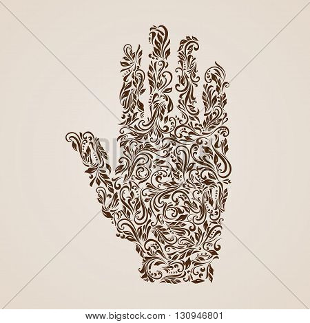 Floral pattern of vines in the shape of a hand on the beige background