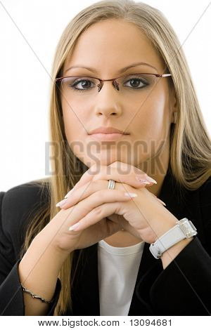 Young businesswomen wearing glasses. Thinking, leaning on hands, looking at camera.Isolated on white background.