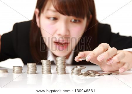 portrait of concept shot of economic collapse on white background on white background