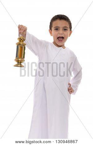 Happy Young Boy Holding Lantern Celebrating Ramadan