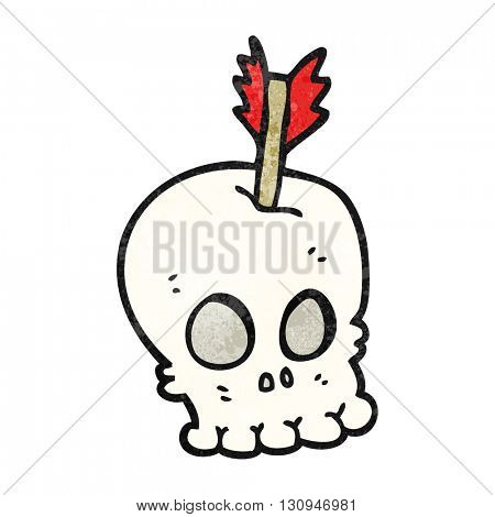 freehand textured cartoon skull with arrow