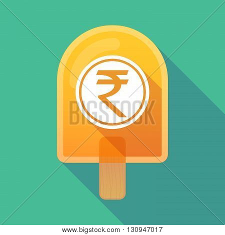 Long Shadow Ice Cream Icon With  A Rupee Coin Icon