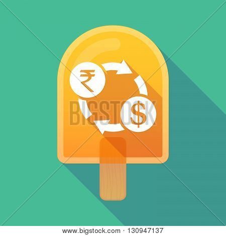 Long Shadow Ice Cream Icon With  A Rupee And Dollar Exchange Sign