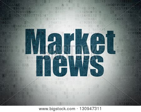 News concept: Painted blue word Market News on Digital Data Paper background