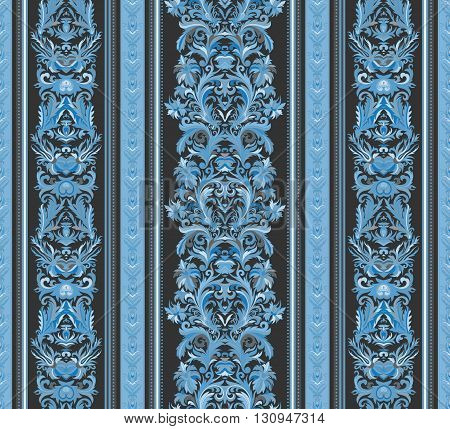 Seamless vintage background. Royal renaissance striped wallpaper. Vector background for textile design.  Wallpaper, background, baroque pattern. Blue tone on dark gray backdrop.