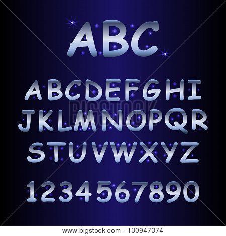 alphabet with shine stars, vector illustration stock