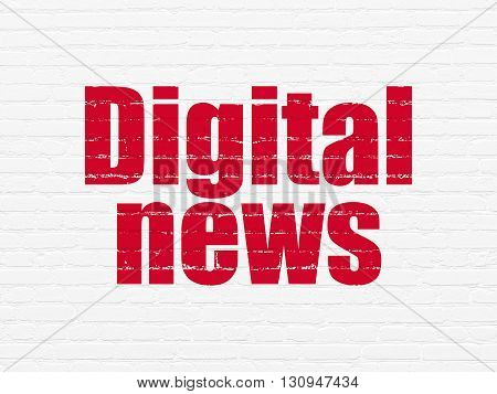 News concept: Painted red text Digital News on White Brick wall background