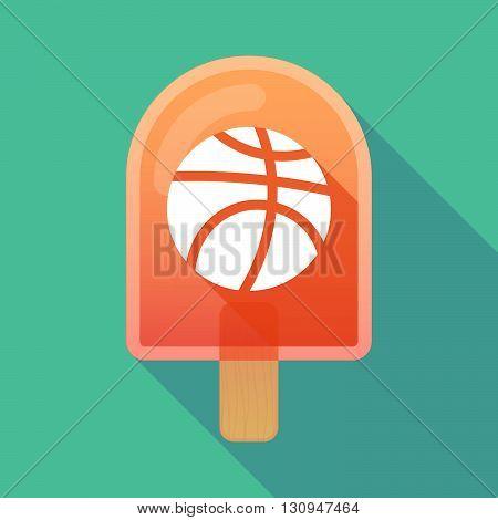 Long Shadow Ice Cream Icon With  A Basketball Ball