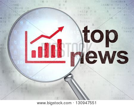 News concept: magnifying optical glass with Growth Graph icon and Top News word on digital background, 3D rendering