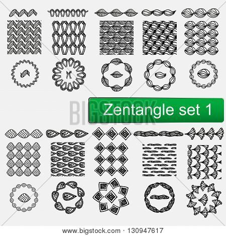 Zentangle seamless patterns and brushes set 1, hand drawn zentangle frames Vector set of seamless patterns. Stylish tileable swatches. Monochrome hipster prints, backgrounds with linear doodles