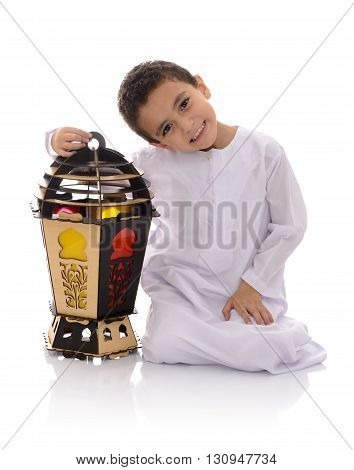 Happy Young Boy With Big Lantern Celebrating Ramadan