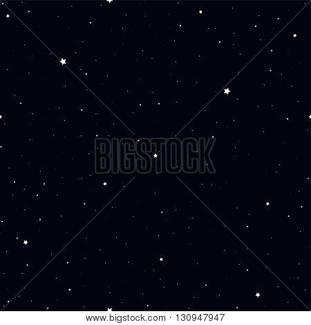 Cartoon starry sky. Vector seamless wallpaper. Night sky