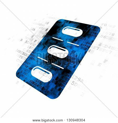 Healthcare concept: Pixelated blue Pills Blister icon on Digital background