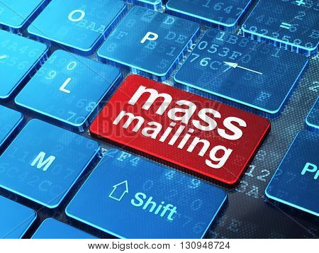 Marketing concept: computer keyboard with word Mass Mailing on enter button background, 3D rendering