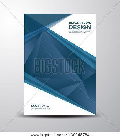 Blue Cover Annual report  cover design polygon background brochure design