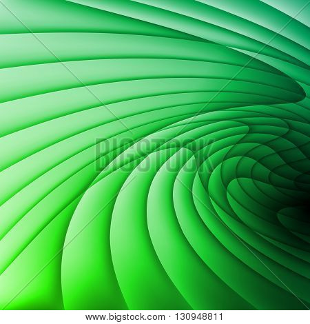 Backdrop is made of green gradient wavy stripes.