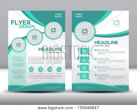 business brochure flyer design layout template in A4 size green brochure template cover design