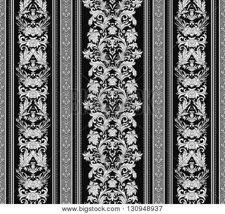 Hand drawn seamless stylized foliage striped damask background vector for invitations, greeting cards, web page, pattern fills, or textile. Black and white color