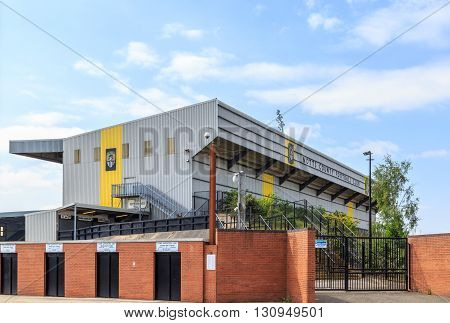 NOTTINGHAM ENGLAND - MAY 17: Exterior of Notts County Football Club ground. In Nottingham England. On 17th May 2016.
