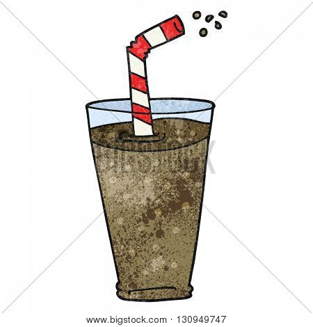 freehand textured cartoon fizzy drink in glass