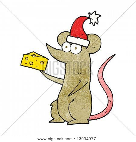 freehand textured cartoon christmas mouse with cheese