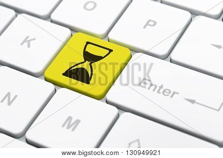 Timeline concept: computer keyboard with Hourglass icon on enter button background, selected focus, 3D rendering