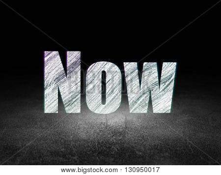 Time concept: Glowing text Now in grunge dark room with Dirty Floor, black background