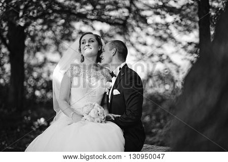 Portrait Of Fashionable Wedding Couple At Wood Background. B&w Photo
