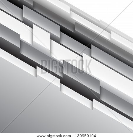 Abstract geometric background with black and white three-dimensional shapes