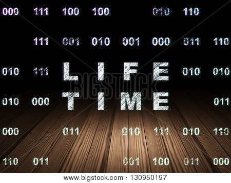 Timeline concept: Glowing text Life Time in grunge dark room with Wooden Floor, black background with Binary Code