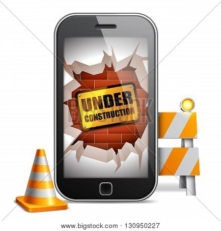 Broken mobile phone with under construction sign